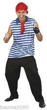 ADULT MENS STRIPED PIRATE SHIRT WITH BANDANA AND RED SCARF FANCY DRESS COSTUME
