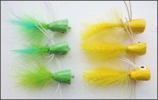6 Green and Yellow Poppers Fishing Flies Size 10 - Uk POST FREE