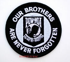 OUR BROTHERS ARE NEVER FORGOTTEN EMBROIDERED POW MIA PATCH US MILITARY FALLEN