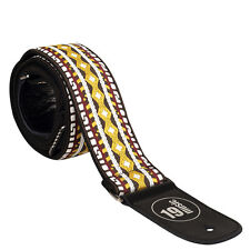Braid embroidered pattern brown cream yellow GUITAR STRAP 3043 braided WIDE SOFT