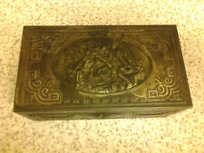 "VINTAGE EMBOSSED PICTURE PANEL METAL ""STATE EXPRESS CIGARETTE"" BOX HOLDER"