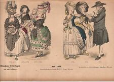1880 Chromo Fashion print of late 1700's French visitation toilettes for court
