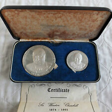 1965 Winston Churchill 2x plata prueba de medalla Set-Kovacs/Gregory & co