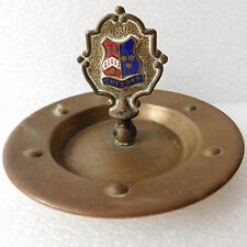 Vintage brass plate Cheddar Somerset enamel crest Ash tray Coin tips pin dish