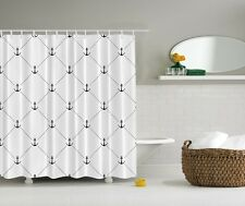 Anchor Beach Graphic Shower Curtain Sailor Dimond Patterns Nautical Bath Decor
