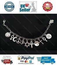 COEXIST Silver Tone Charm Bracelet with Silver Tone Charms Inter Faith Religion