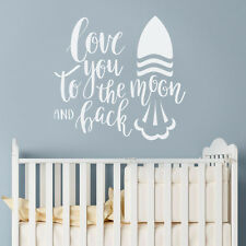 Moon & Back Quote Love Rocket Wall Sticker Baby Nursery Idea Decal Decor