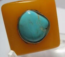 A&C amber bakelite lucite large ring w/ genuine Turquoise stone artist
