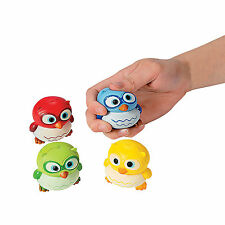 4 OWL RELAX SQUEEZE BALLS Kids Toys Fun Party Favors  36/5986