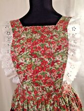 Christmas Cardinals & Poinsettias w White Eyelet Trim Pinafore Serving Apron USA