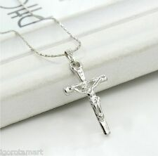 SILVER PLATED SINGLE FASHION SILVER CROSS PENDANT NECKLACE 40CM CHAIN CRUCIFIX