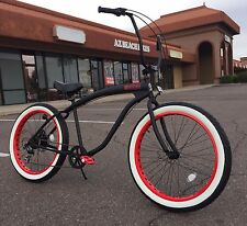 Fat Tire Beach Cruiser Bike- 26X3 Whitewall Wide Tires- 7 speed - Rear Disc SIKK