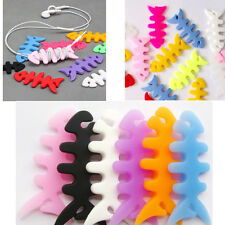 10pcs Rubber Fish Bone Earphone Headphone Cable Cord Wire Winder Wrap Holder NEW