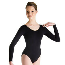 Body Wrappers BWC126 Girl's Size 6X-7 (Fits 4-6) Black Long Sleeve Leotard