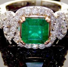 14K WHITE GOLD 4.06CTW NATURAL COLOMBIAN EMERALD-CUT EMERALD DIAMOND RING SIZE 7