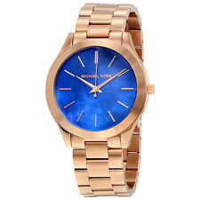 Michael Kors Slim Runway Quartz Blue Dial Rose Gold-tone Laides Watch MK3494
