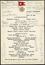 TITANIC 10x8 COPY OF AN ORIGINAL LUNCHEON MENU SIGNED BY SOME OF THE SURVIVORS