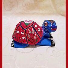 Hand Carved Hand Painted Wood Turtle-Collectible