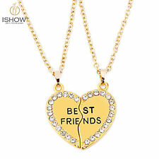 Best Friends BFF Gold Crystal Heart Pendant Chain Friendship Necklace For Women
