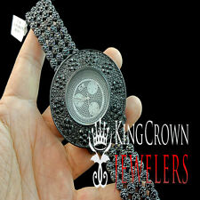 Iced Out All Black Sensuous Rapper Style Lab Diamond Watch Cluster Bezel Band