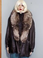 Marvin Richards black leather coat, silver fox fur collar, Small, #864
