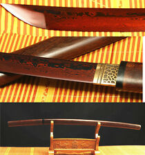 41' DAMASCUS FOLDED STEEL RED ROSEWOOD  JAPANESE SAMURAI SWORD KATANA HIGH SAYA
