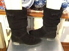 Women's Bass Melina Black Mid Calf Suede Slouch Style Fashion Boots Size- 7 M