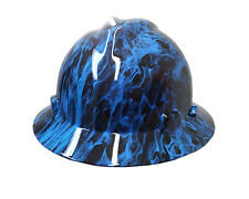 Hydrographic Blue Fire MSA V-Guard Full Brim Hard Hat