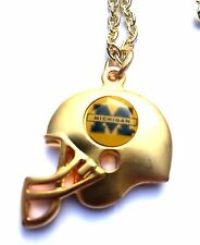 Michigan Wolverines 3D Gold Helmet Charm Necklace - NCAA Licensed Jewelry