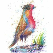 Watercolour Painting RAPT ROBIN by Sophie Appleton replica of Original birds art