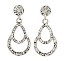 CLIP ON EARRINGS - silver plated drop earring with zirconia crystals - Antonia