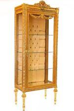 Goldene BAROCK VITRINE 3-seitig GLAS, DISPLAY-CABINET SCHAUVITRINE STANDVITRINE