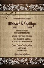 Wedding Invitations Wood, Burlap Lace & Twine Rustic 50 Invitations & RSVP Cards