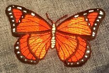 BUTTERFLY bright orange monarch EMBROIDERED IRON-ON PATCH  **FREE SHIP** c p0457