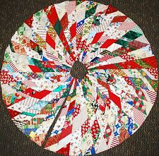 """HANDMADE PATCHWORK QUILTED 48"""" CHRISTMAS TREE SKIRT - REVERSIBLE QUILT SANTA"""