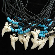 20  X WHOLESALE BULK LOT SHARK TOOTH NECKLACE GLASS BEADED TURQUOISE BLUE AQUA