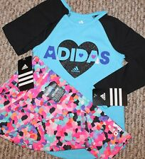 New! Girls Adidas Outfit (Long Sleeve Shirt, Colorful Print Leggings) - Size 2T