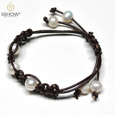 Handmade Braided Leather Rope Freshwater Pearl Charm Bracelet For Women Jewelry