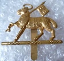 Badge- Vintage Queen's Royal West Surrey Regiment Cap Badge (BRASS, Genuine*)