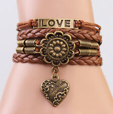 ONE Infinity LOVE Heart Flower Friendship Antique Copper Leather Charm Bracelet