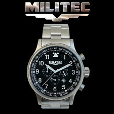 MILITEC Pilot Chronometer Military/Army Watch 100m Water Resist S/S Strap PC-001