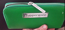 Tupperware Green Wallet Deco Vibe Design ~ Logo  Consultant Award ~ Zippered New
