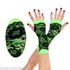 Punk Rave Neon Green Black Lace Fingerless Gloves Arm Warmers Retro 80s Fashion
