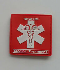 Hot  RESCUER GEAR. Medical Treatment.PVC 3D Rubber   Patch .Red SK  8