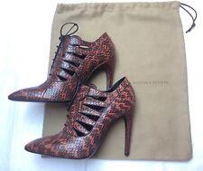 New Bottega Veneta Brown Snakeskin Cutout Lace-Up Ankle Shoes / Boots Size 38