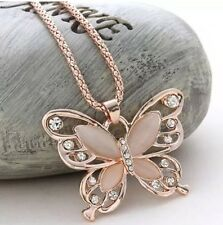 Women's Lady Rose Gold Opal Butterfly Pendant Necklace Sweater Chain lover gift