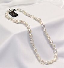 """Honora White Keshi Pearl Necklace 18"""" Sterling Silver Bright Iridescent Pearls!"""