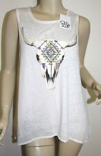 NWT Chaser LA BURNOUT TEE BOXY T SHIRT TANK TOP 'BULL SKULL' ~SIZE MEDIUM
