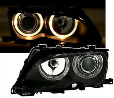 BLACK ANGEL EYE HEADLIGHTS HEADLAMPS FOR BMW E46 FACELIFT SALOON TOURING