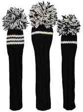 Sunfish black and white knit wool golf headcover set - DR, FW, HB